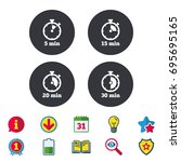 timer icons. 5  15  20 and 30... | Shutterstock .eps vector #695695165