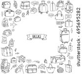 hand drawn doodle baggage icons ... | Shutterstock .eps vector #695695282