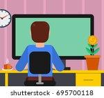 illustration of man working on... | Shutterstock . vector #695700118
