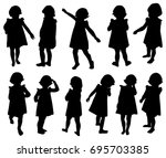 set of silhouettes of a little... | Shutterstock .eps vector #695703385