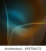 wave particles background   3d ... | Shutterstock . vector #695706172