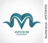 stylized aries horns logo | Shutterstock .eps vector #695709592