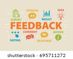 feedback. concept with icons... | Shutterstock . vector #695711272