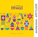 diwali hindu festival greeting... | Shutterstock .eps vector #695711335