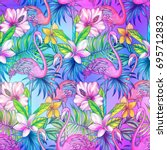 seamless tropical pattern with... | Shutterstock . vector #695712832