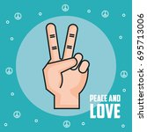 peace and love hand gesture... | Shutterstock .eps vector #695713006