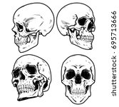 skull vector illustration ... | Shutterstock .eps vector #695713666
