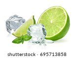 ice cubes with lime   ice cubes ...   Shutterstock . vector #695713858