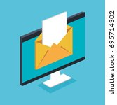 email notification on pc... | Shutterstock .eps vector #695714302