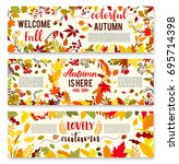 welcome autumn banner set with... | Shutterstock .eps vector #695714398
