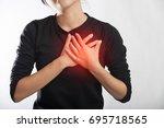 severe heartache  woman... | Shutterstock . vector #695718565