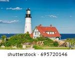 portland head lighthouse  cape... | Shutterstock . vector #695720146