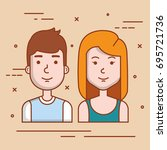 young couple avatars characters ... | Shutterstock .eps vector #695721736