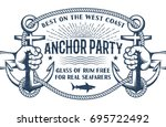 vintage nautical poster with... | Shutterstock .eps vector #695722492