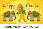 happy onam. king mahabali.... | Shutterstock . vector #695727766