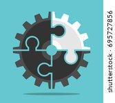 black cog wheel with white... | Shutterstock .eps vector #695727856