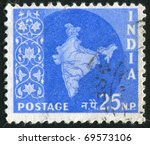 india   circa 1957  stamp... | Shutterstock . vector #69573106
