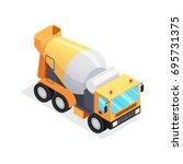 isometric concrete mixer... | Shutterstock .eps vector #695731375