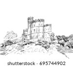edinburgh. scotland. hand drawn ... | Shutterstock .eps vector #695744902