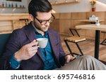 portrait of focused businessman ...   Shutterstock . vector #695746816