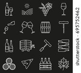 wine outline icon set. winery...   Shutterstock .eps vector #695752462