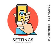 settings on smartphone screen.... | Shutterstock .eps vector #695752912