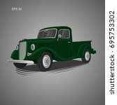old retro pickup truck vector... | Shutterstock .eps vector #695753302