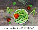 Fresh Green Peas With Pods On ...