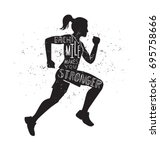 each mile makes you stronger.... | Shutterstock .eps vector #695758666