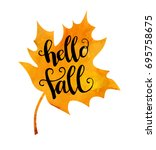 hello fall. vector illustration ... | Shutterstock .eps vector #695758675