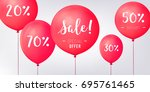 red baloons discounts. sale... | Shutterstock .eps vector #695761465