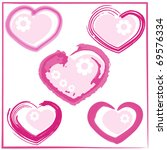 cute doodles hearts set .... | Shutterstock .eps vector #69576334
