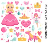 princess with fairytale unicorn ... | Shutterstock .eps vector #695766412
