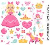 princess with fairytale unicorn ...   Shutterstock .eps vector #695766412