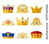 princess diadems and golden...   Shutterstock .eps vector #695766466