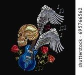 embroidery rock music. skull ... | Shutterstock .eps vector #695766562