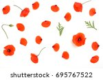 Stock photo red poppies petals pattern on white background top view flat lay 695767522