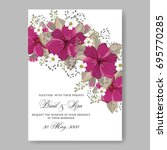 floral wedding invitation...   Shutterstock .eps vector #695770285