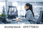 white female is working on a... | Shutterstock . vector #695770822