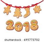 gingerbread cookies set on... | Shutterstock .eps vector #695773702