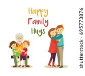 vector happy family hugs... | Shutterstock .eps vector #695773876