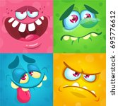 cartoon monster faces set.... | Shutterstock .eps vector #695776612