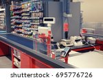 new and modern checkout... | Shutterstock . vector #695776726