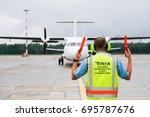 riga  july 2017   flight... | Shutterstock . vector #695787676