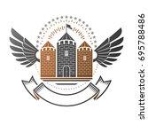 ancient citadel emblem.... | Shutterstock .eps vector #695788486
