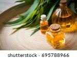 eucalyptus leaves  eucalypt oil | Shutterstock . vector #695788966