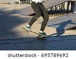 skateboarder legs riding... | Shutterstock . vector #695789692