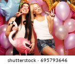 lifestyle  party  and people... | Shutterstock . vector #695793646