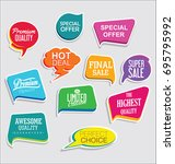 promo sale stickers and tags... | Shutterstock .eps vector #695795992