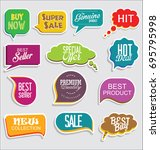 promo sale stickers and tags... | Shutterstock .eps vector #695795998